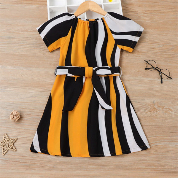 Girls Short Sleeve Striped Color Contrast Dresses trendy kids wholesale clothing