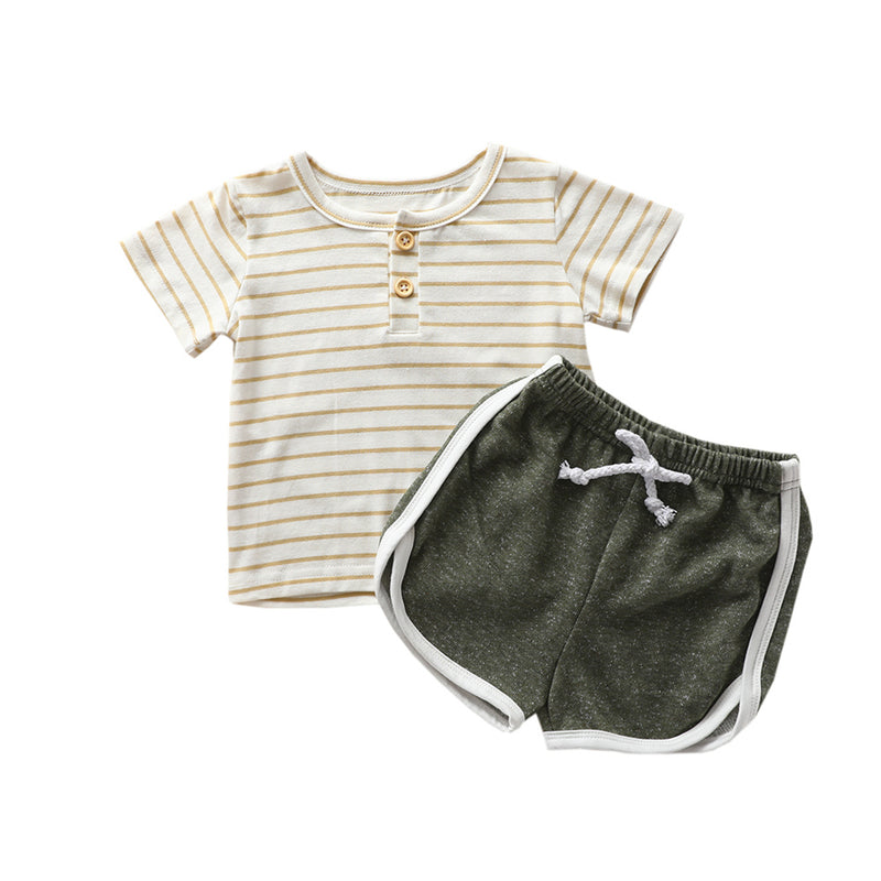 Girls Short Sleeve Striped Crew Neck Tracksuit Wholesale Little Girls Clothes
