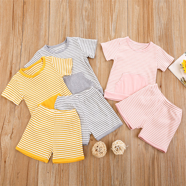 Unisex Short Sleeve Striped Daily Top & Shorts Bulk Childrens Clothing Suppliers