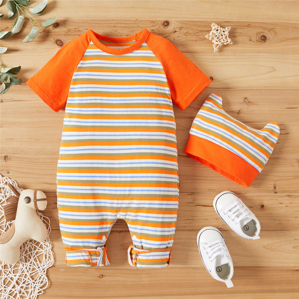 Baby Boys Short Sleeve Striped Romper & Hat cheap baby clothes wholesale