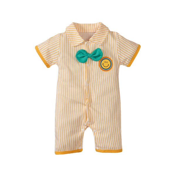 Baby Boys Short Sleeve Striped Romper baby boy clothes wholesale