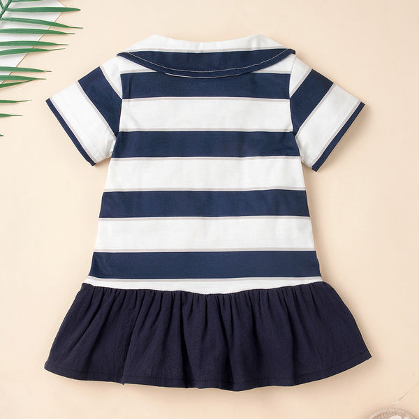 Baby Girls Short Sleeve Striped Splicing Dress Wholesale Baby Clothes