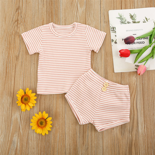 Girls Short Sleeve Striped Top & Button Shorts Baby Girl Wholesale