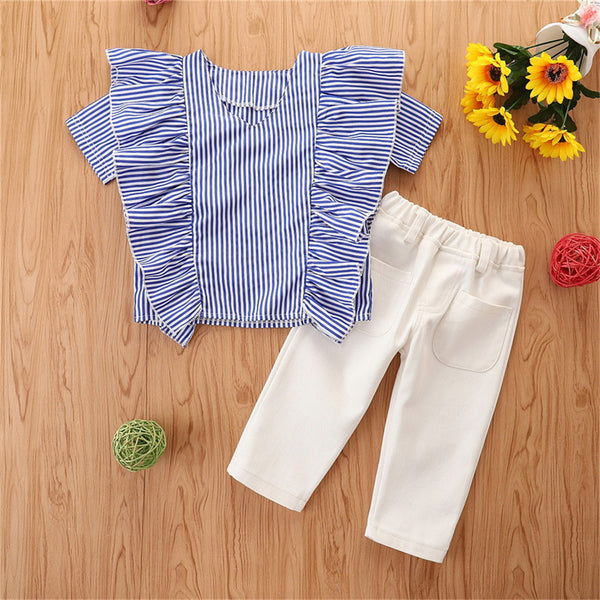 Girls Short Sleeve Striped Top & Pants childrens wholesale clothing
