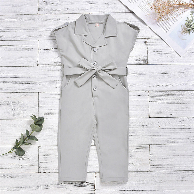 Girls Short Sleeve Suit Collar Solid Jumpsuit Wholesale
