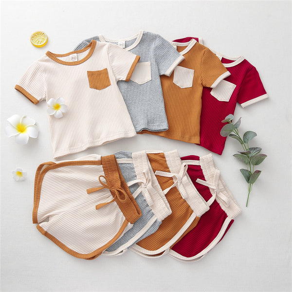 Girls Short Sleeve Suits Top & Shorts wholesale kids boutique clothing