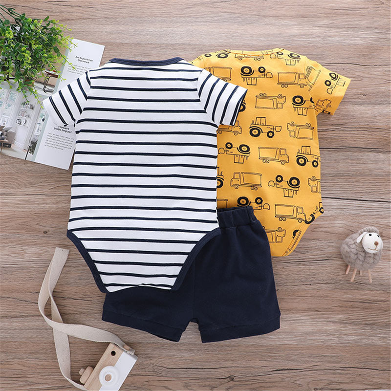 Baby Short Sleeve Summer 3PCS Striped Cartoon Animal Printed Rompers & Shorts Baby Clothing Wholesale