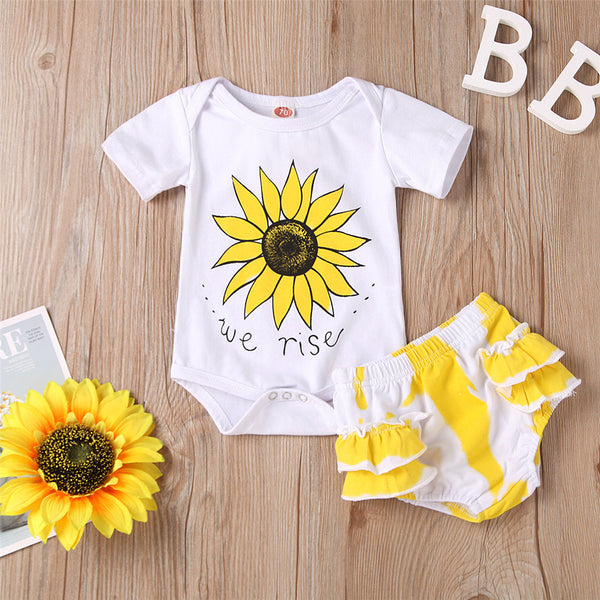 Baby Girls Short Sleeve Sunflower Letter Printed Romper & Ruffle Shorts Baby Boutique Wholesale