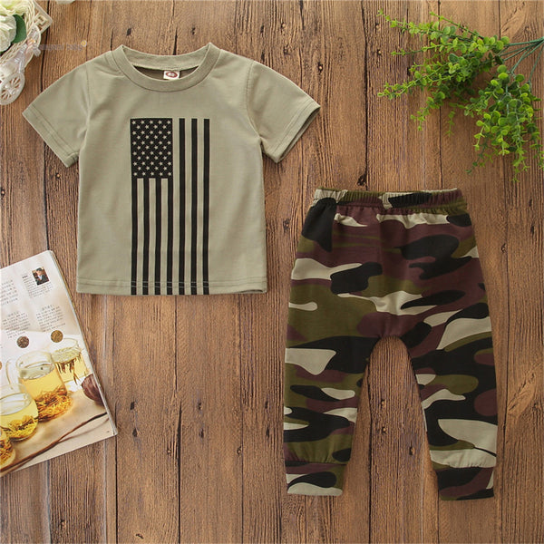 Baby Boys Short Sleeve T-shirt & Camo Pants Boys Summer Outfits