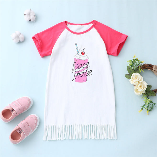Girls Short Sleeve Tassel Letter Cartoon Printed Dress kids clothing wholesale