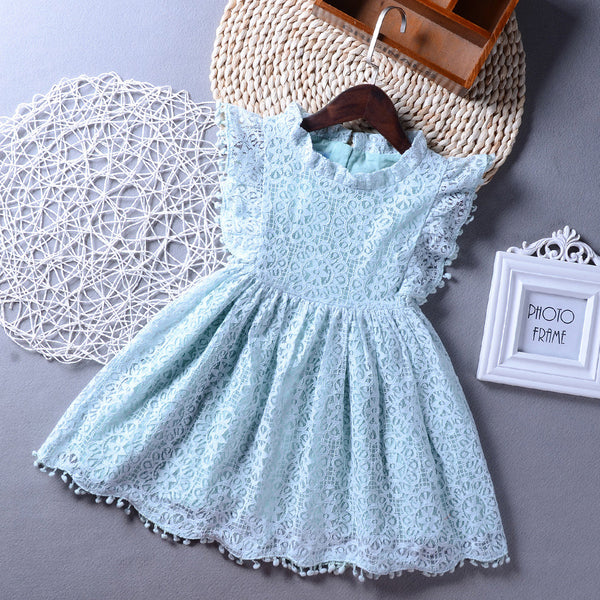 Girls Short Sleeve Tassel Solid Color Dress Girl Boutique Clothing Wholesale