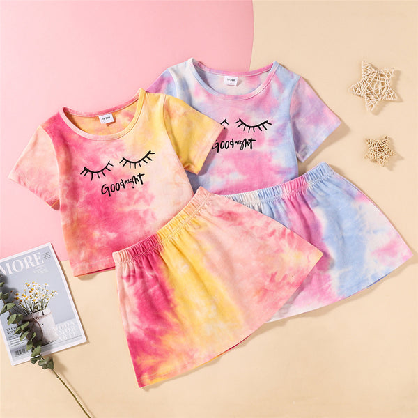 Girls Short Sleeve Tie-dye Good Night Printed Top & Skirt Toddler Girl Wholesale Clothing