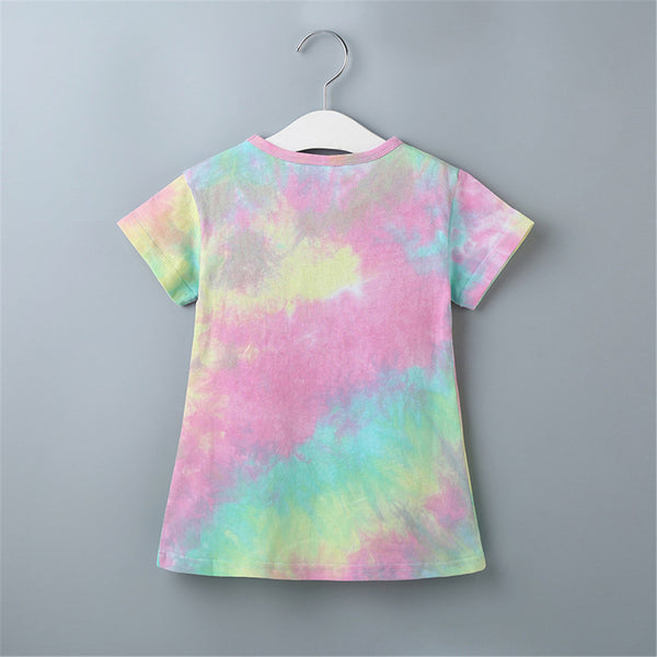 Girls Short Sleeve Tie Dye Crew Neck Tops