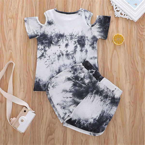 Girls Short Sleeve Tie Dye Off Shoulder Top & Shorts kids wholesale clothing