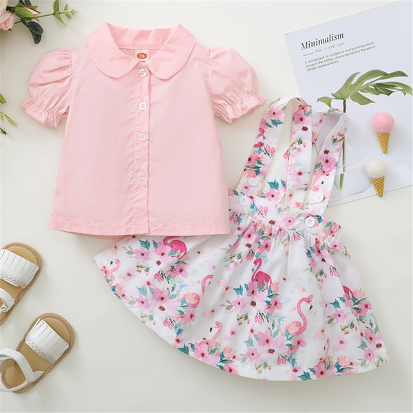 Baby Girls Short Sleeve Top & Suspender Skirt cheap baby clothes wholesale