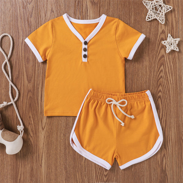Unisex Short Sleeve V Neck Top & Shorts Suits childrens wholesale clothing