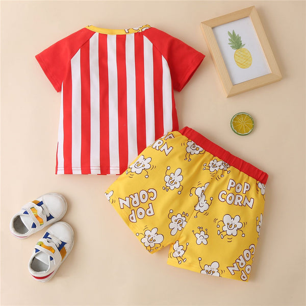 Baby Unisex Short Sleeve Vertical Striped Letter Printed Top & Shorts Baby Wholesale