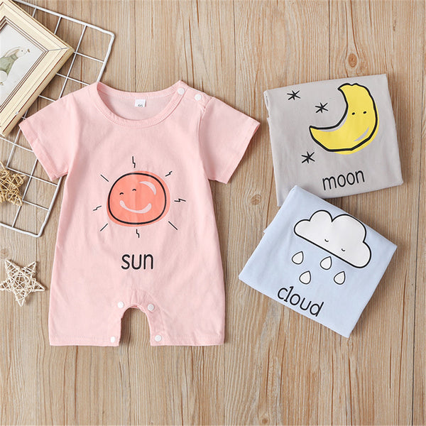 Baby Unisex Short Sleeve Weather Cartoon Printed Romper baby wholesale clothing