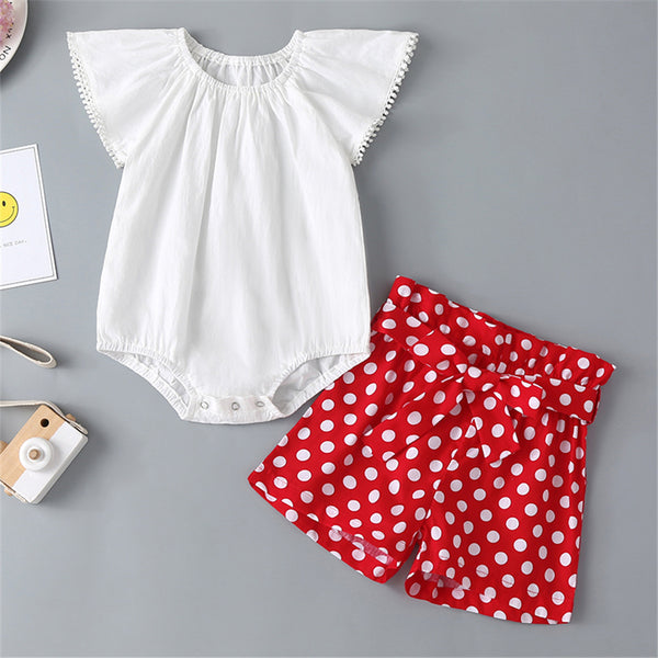 Baby Girls Short Sleeve White Romper & Polka Dot Shorts baby clothes wholesale usa