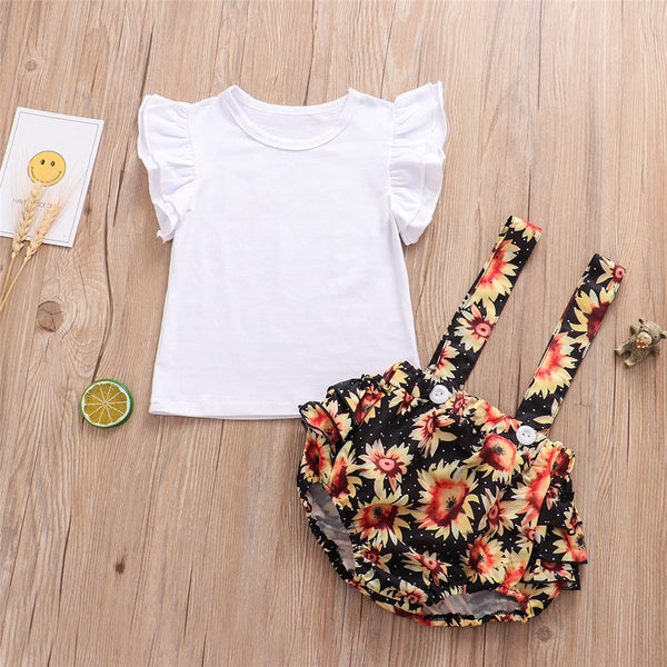 Baby Girls Short Sleeve White Top & Floral Overalls wholesale baby clothing