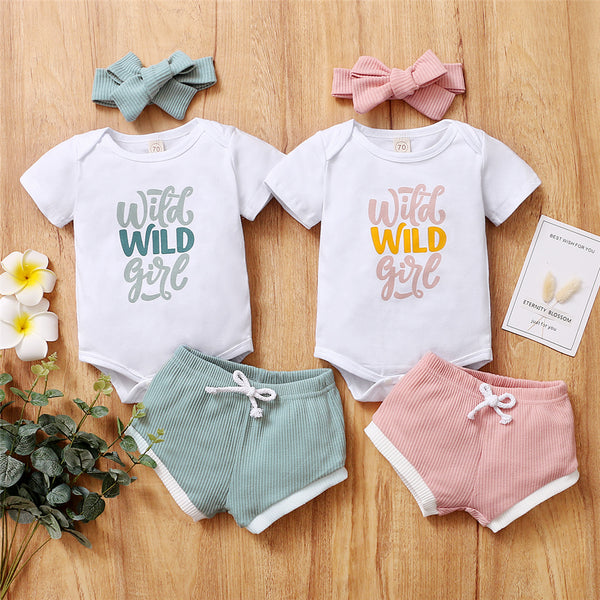Baby Girls Short Sleeve Wild Girl Printed Romper & Shorts & Headband Baby Clothes Warehouse