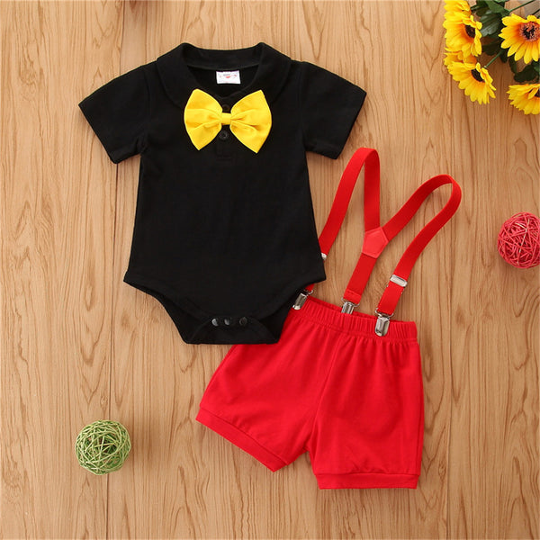 Baby Boys Short Sleeve Yellow Bow Tie Black Romper & Red Overalls Baby Boutique Clothing Wholesale