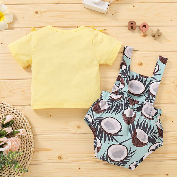 Baby Girls Short Sleeve Yellow Ruffled Top & Coconut Printed Suspender Romper cheap baby girl clothes boutique