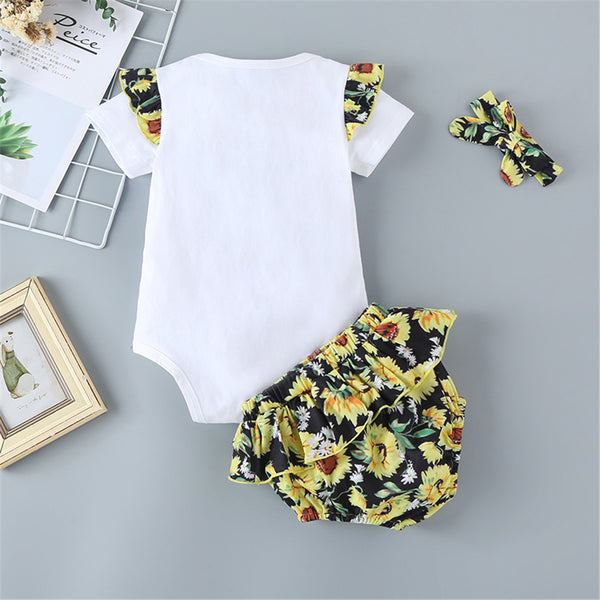 Baby Girls Shorts Sleeve Sunflower Sunshine Printed Romper & Shorts & Headband Baby Clothes Suppliers