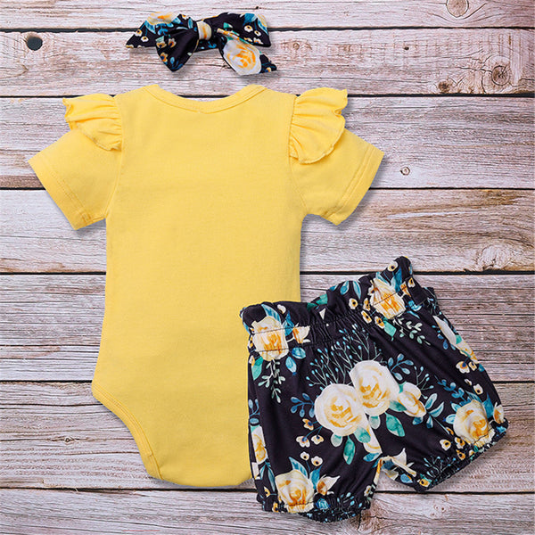 Baby Sister Printed Short Sleeve Top & Short & Headband Baby Wholesale Suppliers