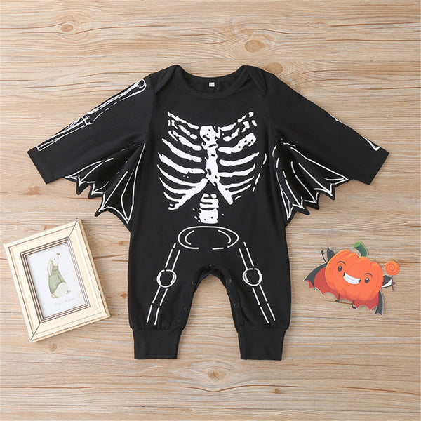 Baby Boys Skeleton Long Sleeve Bat Romper Wholesale Baby Rompers