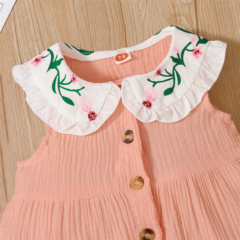 Baby Girls Sleeve Embroidery Button Dresses baby wholesale clothing