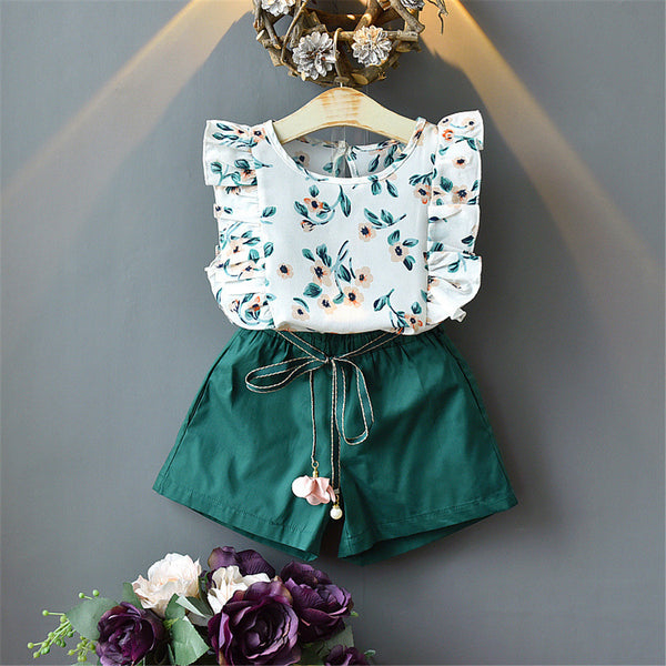 Girls Sleeve Floral Printed Ruffled Top & Shorts wholesale little girl clothing