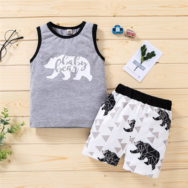 Boys Sleeveless Bear Letter Printed Vest & Shorts wholesale boy boutique clothes
