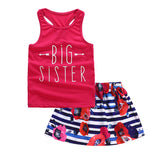 Girls Sleeveless Big Sister Printed Top & Skirts Wholesale Little Girls Clothes