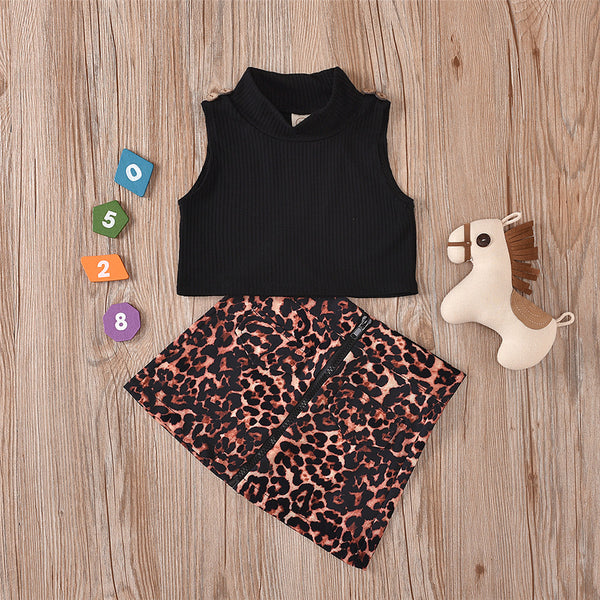 Girls Sleeveless Black Top & Leopard Printed Skirt wholesale toddler clothing