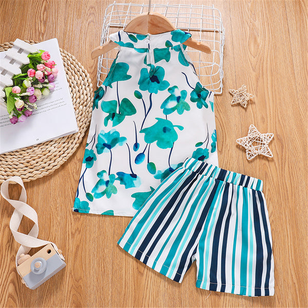 Girls Sleeveless Bow Decor Floral Printed Top & Shorts Wholesale Kids Clothes
