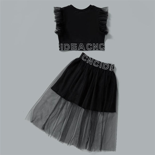 Girls Sleeveless Butterfly Letter Mesh Top & Skirt trendy kids wholesale clothing