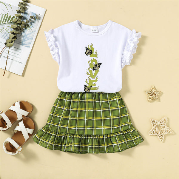 Girls Sleeveless Butterfly Top & Skirt childrens wholesale clothing