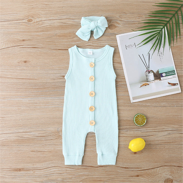 Baby Girls Sleeveless Button Solid Color Romper Baby Clothes Warehouse