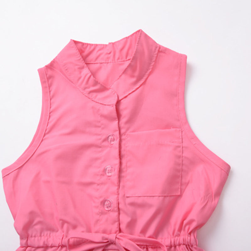 Girls Sleeveless Button Solid Color Summer Jumpsuit wholesale childrens clothing online