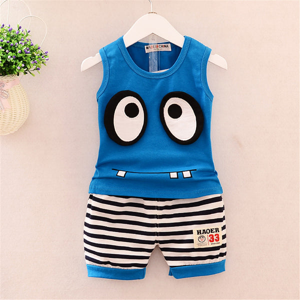 Baby Boys Sleeveless Cartoon Printed Top & Striped Shorts Wholesale Baby Clothes
