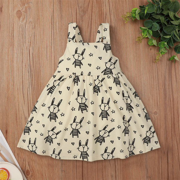 Girls Sleeveless Cartoon Rabbit Printed Dress Cheap Baby Boutique Clothes