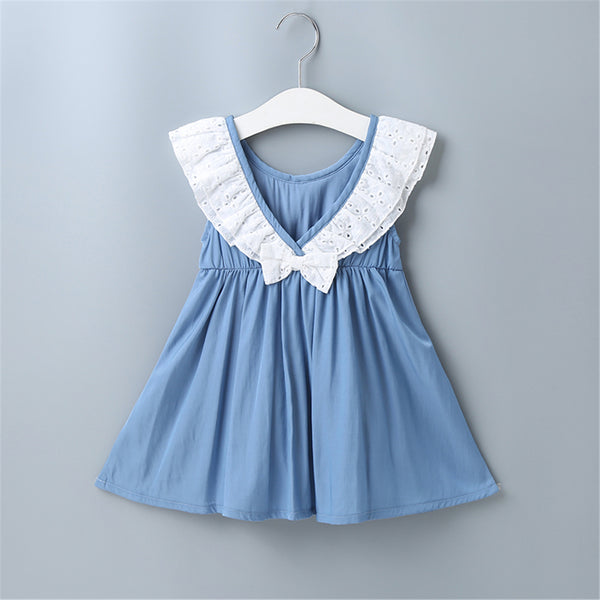 Baby Girls Sleeveless Casual Dress Baby Clothing Cheap Wholesale
