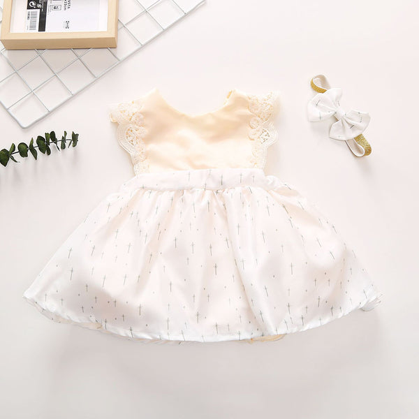 Baby Girls Sleeveless Casual Dress & Headband wholesale baby clothes usa
