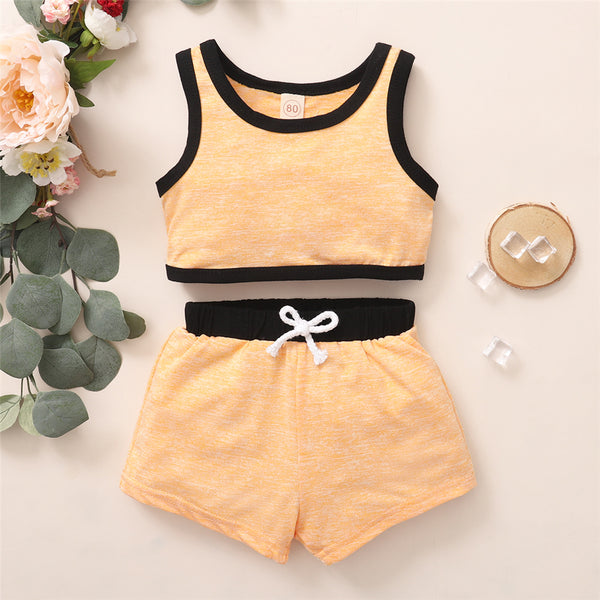 Girls Sleeveless Casual Top & Shorts Summer Tracksuit Childrens Wholesale Clothes