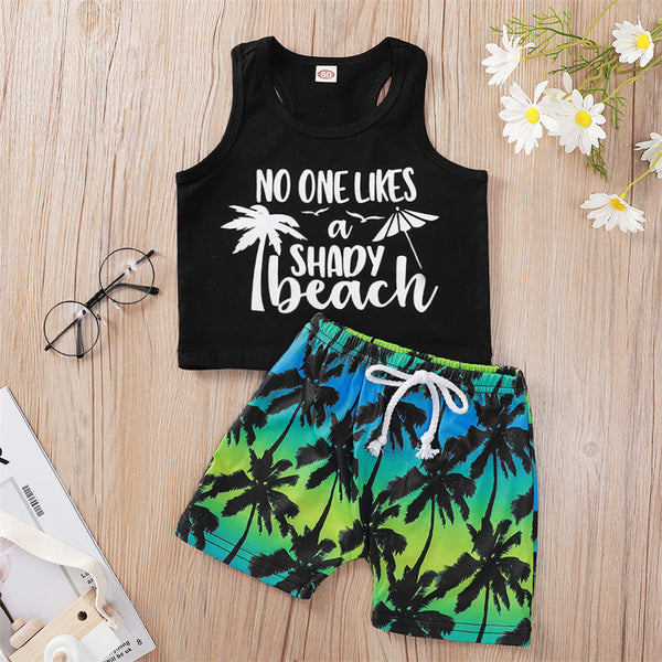 Baby Boys Sleeveless Coconut Tree Printed Letter Top & Shorts bulk baby clothes