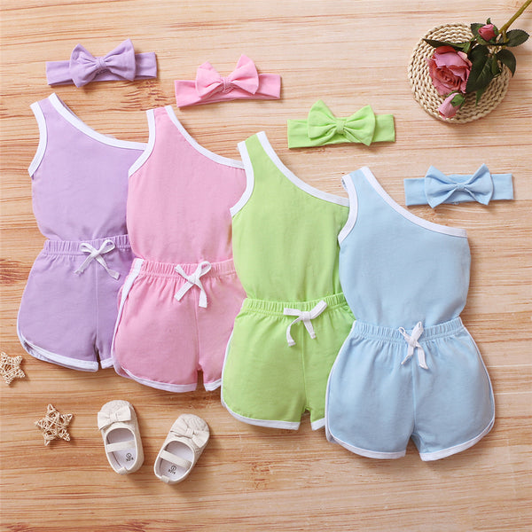 Baby Girls Sleeveless Color Contact Oblique Shoulder Romper & Shorts & Headband Bulk Baby Clothes