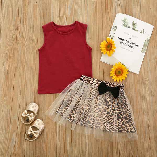 Girls Sleeveless Crew Neck Top & Leopard Mesh Skirt trendy kids wholesale clothing