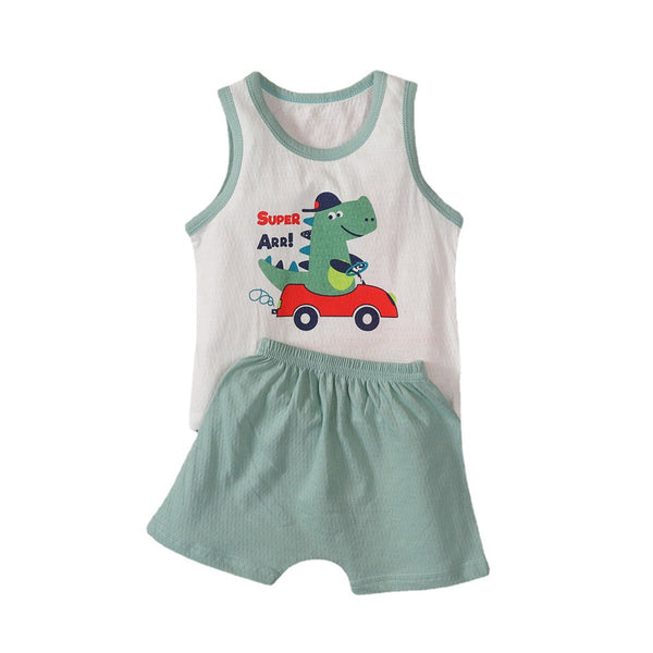 Baby Boys Sleeveless Dinosaur Letter Top & Shorts baby boy clothes wholesale