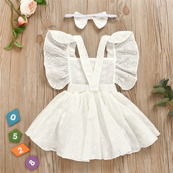Baby Girl Sleeveless Dress Hollow-Out Romper & Headband Wholesale Baby